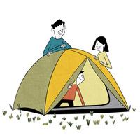 初めてのテントにはしゃぐ子供 10928000068| 写真素材・ストックフォト・画像・イラスト素材|アマナイメージズ