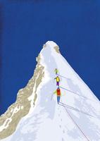 雪山を登る人たち 10928000076| 写真素材・ストックフォト・画像・イラスト素材|アマナイメージズ