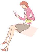 携帯電話を持つ女性 イラスト 11002026305  写真素材・ストックフォト・画像・イラスト素材 アマナイメージズ