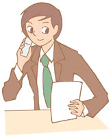 携帯電話で話す男性 イラスト 11002026308  写真素材・ストックフォト・画像・イラスト素材 アマナイメージズ