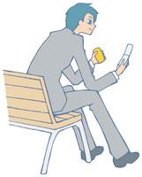 携帯電話を持つ男性 イラスト 11002026309  写真素材・ストックフォト・画像・イラスト素材 アマナイメージズ