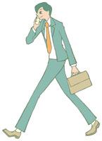 携帯電話で話す男性 イラスト 11002026311  写真素材・ストックフォト・画像・イラスト素材 アマナイメージズ