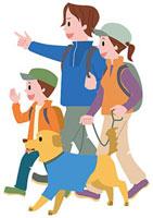 犬と一緒にハイキングをする家族 11002054800| 写真素材・ストックフォト・画像・イラスト素材|アマナイメージズ
