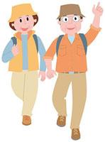 ハイキングをする中高年夫婦 11002054894| 写真素材・ストックフォト・画像・イラスト素材|アマナイメージズ
