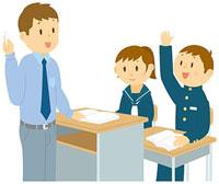 手を上げる中学生 11002055105  写真素材・ストックフォト・画像・イラスト素材 アマナイメージズ