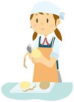 調理実習をする女子中学生 11002055108  写真素材・ストックフォト・画像・イラスト素材 アマナイメージズ