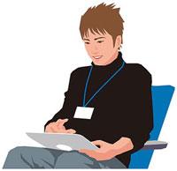 タブレットPCを操作する男性 11002055157  写真素材・ストックフォト・画像・イラスト素材 アマナイメージズ