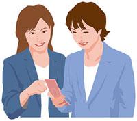 携帯電話の画面を見る二人の女性 11002055188  写真素材・ストックフォト・画像・イラスト素材 アマナイメージズ