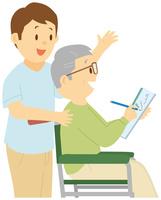 水彩画を描く老人男性と介護士 11002064307| 写真素材・ストックフォト・画像・イラスト素材|アマナイメージズ