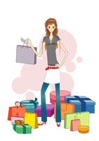 Young woman with shopping bags 11010004857| 写真素材・ストックフォト・画像・イラスト素材|アマナイメージズ