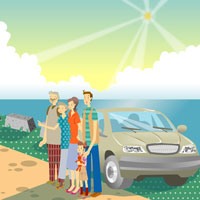 family standing by beach with a car 11010005778| 写真素材・ストックフォト・画像・イラスト素材|アマナイメージズ
