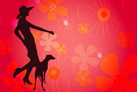 Silhouette of a woman with a dog,flower shape in background 11010042499| 写真素材・ストックフォト・画像・イラスト素材|アマナイメージズ