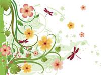 Illustration of dragonflies with beautiful flowers 11010042563| 写真素材・ストックフォト・画像・イラスト素材|アマナイメージズ