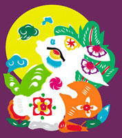 Illustration of a rabbit with the moon 11010044527| 写真素材・ストックフォト・画像・イラスト素材|アマナイメージズ