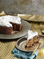 Sri Lankan Christmas Cake on silver serving dish with pastry fork
