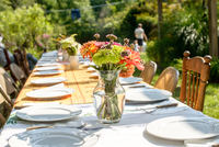 Table setting for large family at tomato eating festival 11015263811| 写真素材・ストックフォト・画像・イラスト素材|アマナイメージズ