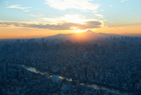 Elevated cityscape view with sunset over Mount Fuji, Tokyo, Japan 11015273208| 写真素材・ストックフォト・画像・イラスト素材|アマナイメージズ
