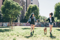 Two young women walking with pit bull terrier in urban park 11015288344| 写真素材・ストックフォト・画像・イラスト素材|アマナイメージズ