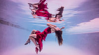 Underwater view of girl wearing red dress and high heeled shoes, floating towards water surface 11015294982| 写真素材・ストックフォト・画像・イラスト素材|アマナイメージズ