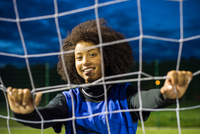 Female football player, Hackney, East London, UK
