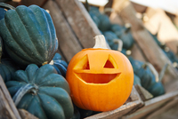 Carved halloween pumpkin in crate with vegetable squashes 11015342856| 写真素材・ストックフォト・画像・イラスト素材|アマナイメージズ
