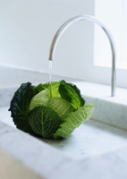 Head of cabbage under faucet