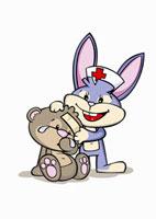 A cartoon rabbit nurse assisting an injured bear 11016018438| 写真素材・ストックフォト・画像・イラスト素材|アマナイメージズ