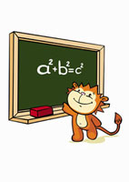 A cartoon tiger standing in front of a blackboard 11016018462| 写真素材・ストックフォト・画像・イラスト素材|アマナイメージズ