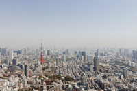 Tokyo Tower amidst cityscape against clear sky 11016028710| 写真素材・ストックフォト・画像・イラスト素材|アマナイメージズ