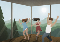 Carefree friends dancing in glass house with sunny mountain and forest view 11016040614| 写真素材・ストックフォト・画像・イラスト素材|アマナイメージズ