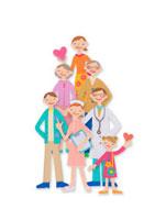 並んでいる家族と医者と看護師 クラフト 11017000504  写真素材・ストックフォト・画像・イラスト素材 アマナイメージズ