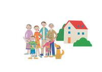 並んでいる家族と家 クラフト 11017000506  写真素材・ストックフォト・画像・イラスト素材 アマナイメージズ