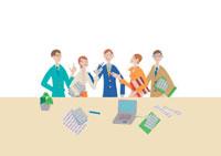 オフィスと5人の会社員 クラフト 11017000526  写真素材・ストックフォト・画像・イラスト素材 アマナイメージズ