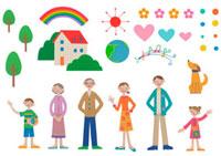 並んだ家族と家や虹や木などのパーツ クラフト 11017000546  写真素材・ストックフォト・画像・イラスト素材 アマナイメージズ