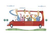 ドライブをする三世代家族 11023012232  写真素材・ストックフォト・画像・イラスト素材 アマナイメージズ