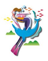 ダイビングでイルカと泳ぐ女性 11023012246| 写真素材・ストックフォト・画像・イラスト素材|アマナイメージズ
