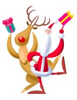 サンタと赤鼻のトナカイ 11023012251| 写真素材・ストックフォト・画像・イラスト素材|アマナイメージズ