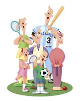 スポーツをする三世代家族 11023012261  写真素材・ストックフォト・画像・イラスト素材 アマナイメージズ
