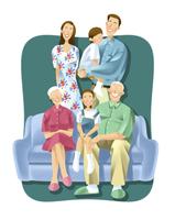 三世代家族 11023012290  写真素材・ストックフォト・画像・イラスト素材 アマナイメージズ