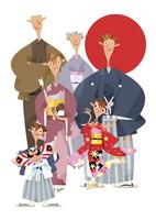 三世代家族の正月イメージ 11023012302  写真素材・ストックフォト・画像・イラスト素材 アマナイメージズ