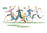 ジョギングをする三世代家族 11023012383  写真素材・ストックフォト・画像・イラスト素材 アマナイメージズ