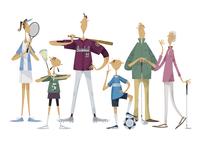 スポーツをする三世代家族 11023012385  写真素材・ストックフォト・画像・イラスト素材 アマナイメージズ
