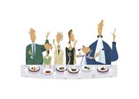 レストランで食事をする三世代家族 11023012386  写真素材・ストックフォト・画像・イラスト素材 アマナイメージズ