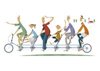 サイクリングをする三世代家族 11023012391  写真素材・ストックフォト・画像・イラスト素材 アマナイメージズ
