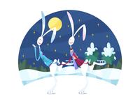 スケートをするウサギのカップル 11023012403| 写真素材・ストックフォト・画像・イラスト素材|アマナイメージズ