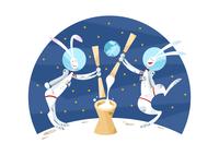 月で餅つきをするウサギのカップル 11023012404| 写真素材・ストックフォト・画像・イラスト素材|アマナイメージズ