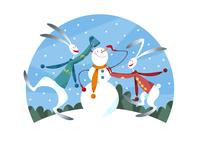 雪だるまを作るウサギのカップル 11023012413| 写真素材・ストックフォト・画像・イラスト素材|アマナイメージズ