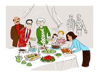 Family at Buffet 11030027331  写真素材・ストックフォト・画像・イラスト素材 アマナイメージズ
