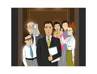 Illustration of Business People in Elevator 11030027474  写真素材・ストックフォト・画像・イラスト素材 アマナイメージズ