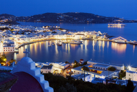 View over Mykonos Town Illuminated in Evening, Chora, Mykonos Town, Mykonos, Cyclades Islands, Greek Islands, Greece